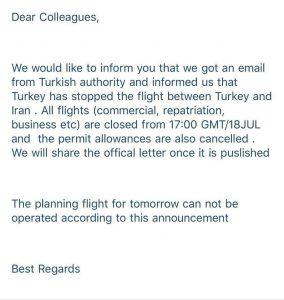 کنسلی دوباره پروازهای ایران- ترکیه